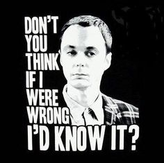"""""""Don't you think if I were wrong, I'd know it?"""" ~ Sheldon Cooper, Big Bang Theory"""
