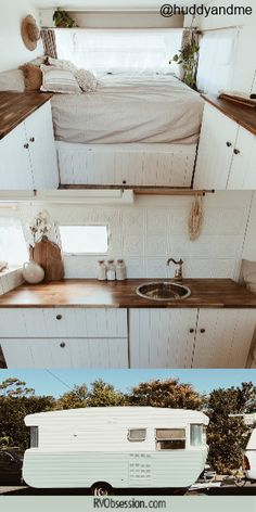 This is Violet - a fully renovated vintage travel trailer. She has a lovely and comfortable RV interior, but retains some of her lovely charm with her wood panelling, pressed tin splashback and lovely wood interior. Caravan Living, Caravan Home, Caravan Decor, Retro Caravan, Rv Living, Caravan Interior Makeover, Caravan Renovation, Airstream Interior, Camper Makeover