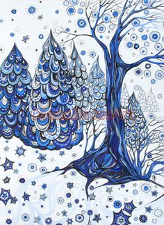 Winter Forest Blue Tree Snow ORIGINAL Painting by OlenaBacasArt, $35.00
