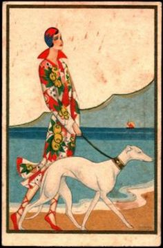 "Set of 4 different Greyhound notecards. Set of 4 different notecards features reproductions of Art Deco Greyhounds or Whippets. Cardstock color is white. Card size is approximately 4-1/4 x 5-1/2"", pro"