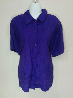 Purple shirt blouse w/ floral embroidery, Red Hat Society, Medium, #1505…