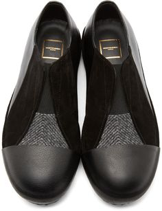 Wooyoungmi Black Panelled Slip-On Shoes