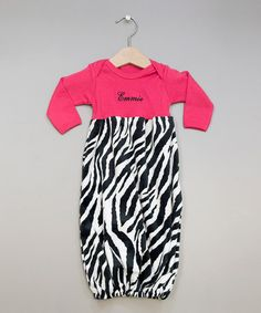 Take a look at this Hot Pink Zebra Snuggle Personalized Gown by Princess Linens Layette on #zulily today!