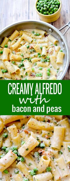 Creamy Alfredo with Bacon and Peas - Recipe Diaries