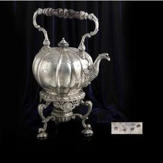 LOT:91 | George II silver spirit kettle by Lewis Pantin I.