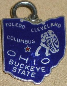 Ohio + Toledo + Cleveland + Columbus [state map charm / pendant]