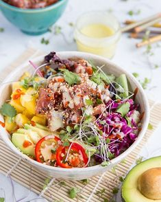Ahi Poke Sushi Bowls with Wasabi Sauce - The Roasted Root Healthy Vegetarian Meal Plan, Healthy Food List, Healthy Snacks For Diabetics, Healthy Chicken, Vegetarian Recipes, Healthy Eating, Healthy Recipes, Keto Meal, Healthy Desserts