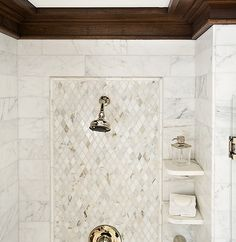 I love the trim around the top of the room here. I wonder if you could make it out of tile in the shower enclosure, and then match it in wood around the rest of the room?