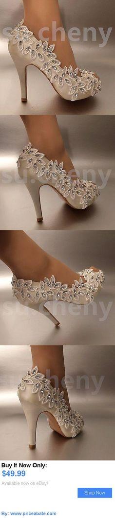 Wedding Shoes And Bridal Shoes: 34 Heel Satin White Ivory Lace Olive Branch Open Toe Wedding Shoes Bride Size BUY IT NOW ONLY: $49.99 #priceabateWeddingShoesAndBridalShoes OR #priceabate