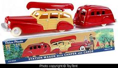 toy car Station Wagon + camping trailer + canoe O-scale
