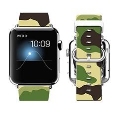 Apple Watch Band 42MM 100 Leather  Stainless Steel Connector iWatch Bands for Apple Watch 42mm  Camouflage patterns *** You can find more details by visiting the image link.