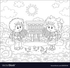 Abc Coloring Pages, Adult Coloring, Coloring Books, A Cartoon, Cartoon Styles, Big Bouquet Of Flowers, Balloon Stands, Colourful Balloons, School Bags