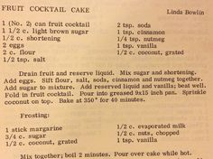Fruit Cocktail Cake - my dad would LOVE this!