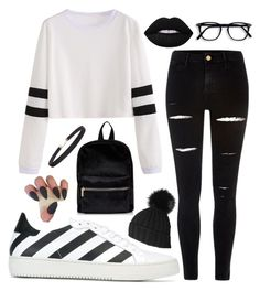 """""""Stripes For Days"""" by gracefully-artistic on Polyvore featuring Off-White, River Island, Black and Humble Chic"""