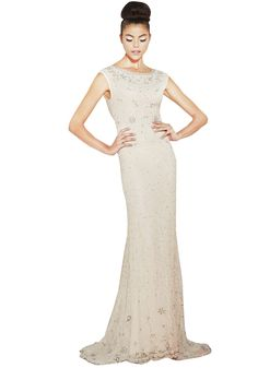 MAYBELLE BEADED DETAILED BACK GOWN | Alice + Olivia |