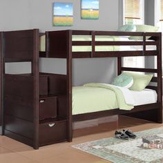 Features:  -Mattresses sold separately.  -Cappuccino finish.  -Ryan collection.  -3 Drawers for additional storage and convenience.  Finish: -Cappuccino.  Frame Material: -Wood.  Life Stage: -Kid/Teen