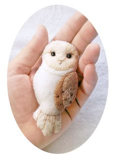 Handmade Felt Owl Brooch, Woodland Animal Jewelry, Ivory White Barn Owl Pin, Gift for Girlfriend Sister Daughter, Hand Embroidered Accessory by Whimsylandia on Etsy https://www.etsy.com/listing/182513271/handmade-felt-owl-brooch-woodland-animal