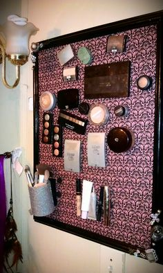 This is my magnet makeup board that i made. Thanks to pintrest, my makeup is now out of my sons reach.