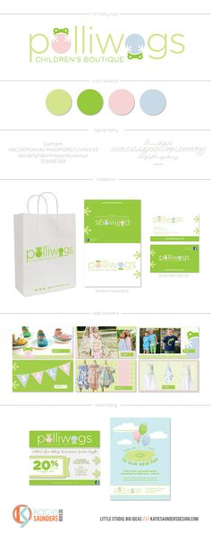 Polliwogs Children's Boutique brand design with print collateral by Pop and Grey