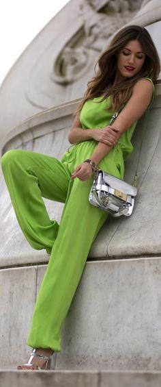 lime green neon jumpsuit #UNIQUE_WOMENS_FASHION