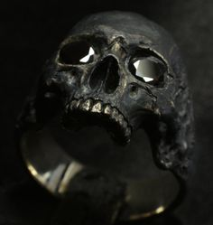 sterling silver mens ring skull ring biker masonic rock handmade jewelry 925