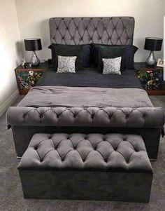 Velvet Bed Frame, Black Velvet Bed, Velvet Bedroom, Room Ideas Bedroom, Bed Room, Room Decor, Dark Grey Rooms, Smart Bed, Dreams Beds