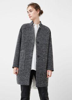 Mantel aus wolle-baumwoll-mix -  Damen   MANGO Deutschland