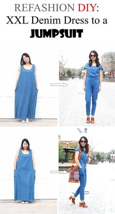 REFASHION DIY: XXL MAXI DRESS TO A JUMPSUIT. Super cute and easy too!