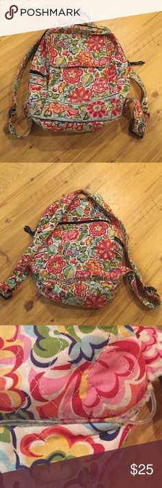 "Vera Bradley ""hope garden"" retired backpack In good condition for how old it is, the plastic wiring is starting to come out but still can be put to good use Vera Bradley Bags Backpacks"