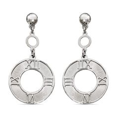 Antique Sundial Coin Dangle Earrings in Silver. A brushed finish and Roman numerals arranged in a sundial fashion bring an antique feel to these sterling silver coin dangle earrings. Handmade in Italy. www.brilliance.com
