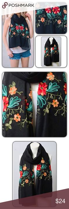 "Essential Floral Embroidered Lightweight Scarf Instantly update your look with this absolutely gorgeous lightweight floral embroidered scarf. 90% Polyester - 10% Cotton. 71"" x 28""  • Bundle & Save • Top Rated Seller • Fast Shipping Accessories Scarves & Wraps"