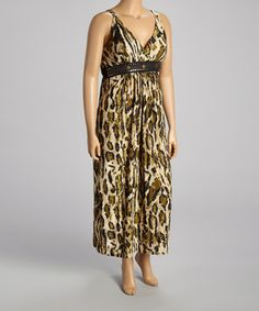Another great find on #zulily! Olive Leopard Studded Maxi Dress - Plus by Shoreline #zulilyfinds