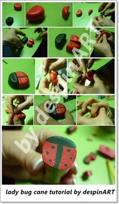 Tutorial : How to make a lady bug cane (polymer clay)