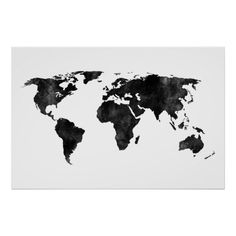 World map outline poster outlines and bedrooms black and white watercolor world map poster gumiabroncs Gallery