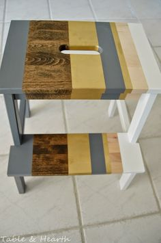 'Lil Striped Ikea Bekvam Stool - Table and Hearth Bekvam Stool, Ikea Bekvam, Ikea Step Stool, Window Well, Wooden Steps, Easy Paintings, Hearth, Natural Wood, Home Improvement
