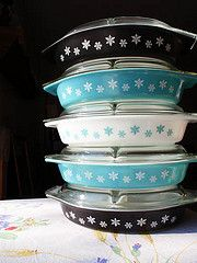 Pyrex Snowflakes...I finally completed my collection of one of each color!