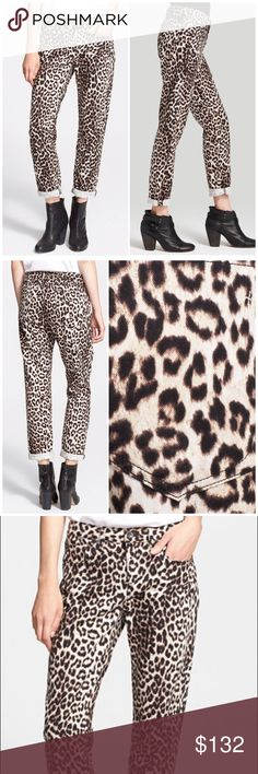 "NWT Rag and Bone Boyfriend Leopard Jeans An eye-catching leopard print accented with black stitching styles boyfriend jeans made from durable Japanese denim. 30"" inseam; 13"" leg opening; 9 1/2"" front rise; 15"" back rise.Zip fly with button closure. Five-pocket style. 65% cotton, 35% Tencel® lyocell. rag & bone Jeans Boyfriend"