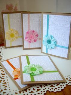 happy birthday card, embossed happy birthday card, girl birthday card, flower birthday card, kraft birthday card, embellished birthday card