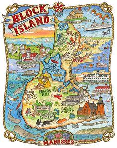 image 0 Map Of New York, Block Island Rhode Island, Block Island Map, Rhode Island History, Queen Poster, Greek Art, Vintage Maps, Ink Illustrations