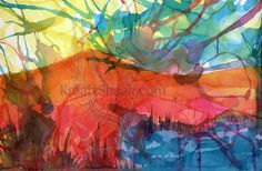 """This abstract watercolor was created during a live episode of Kraaft It LIVE! You can view it on YouTube.    Using artist grade, M. Graham watercolors in 3 colors and 300lb hot press Moulin Du Roy paper and a hairdryer I created this lake scene near a hill.    This piece is UNFRAMED and measures approximately 22"""" x 15"""" with a deckeld edge on all four sides.    Your piece will come unframed, and showing NO watermark!    Prints available at Society6 