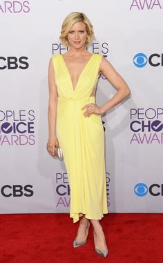 People's Choice Awards Red Carpet: Brittany Snow wore a yellow gown.