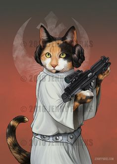 Purrincess Leia by Jenny Parks. Great cat character illustrations.