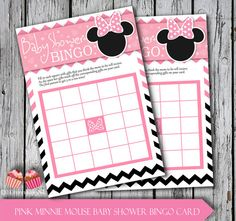 Minnie Mouse Pink Baby Shower Bingo Cards by 1EverythingNice