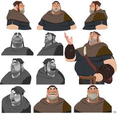 "Robin hood - monk ""Tuck"" on Behance Character Design Animation, Character Creation, Character Concept, Character Art, Concept Art, Character Sheet, Disney Style, Disney Art, Warhammer 40k"