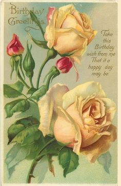 Birthday Greetings ~ two yellow roses & three orange-red buds - - Birthday Greetings ~ two yellow roses & three orange-red buds Graphics: Flowers Geburtstagsgrüße ~ zwei gelbe Rosen und drei orangerote Knospen Decoupage Vintage, Art Vintage, Vintage Images, Vintage Pictures, Birthday Postcards, Vintage Birthday Cards, Vintage Greeting Cards, Vintage Rosen, Rose Art
