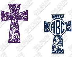 Floral Swirls Christian Cross Circle Monogram Frame Custom DIY ...