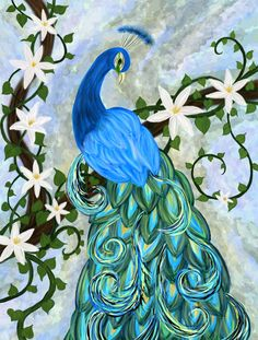 The beautiful peacock is used as a fame cure in Feng Shui, as well as a beauty and love cure. The bold colors, stunning beauty and powerful complexity of this celestial bird is an ideal cure for those seeking the above. This painting combines the symbology of the Narcissus flower as well, which is used to create a powerful flow in one's career, talent and success.