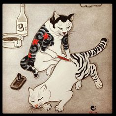 Kazuaki Kitamura aka Horitomo (Japanese) - Tebori Cats Drawings: Ink