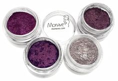 Purple Versatile Powder Pack comes with all of Monave's Purple shadow colors at 30% off thier normal prices! These powders can be used on the eyes, cheeks, or nails with a clear polish base!  all natural mineral makeup, vegan, gluten free, chemical free, talc free, dye free, bismuth free makeup, eco, cruelty free