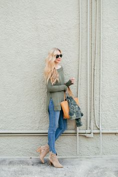 A Pinch of Lovely - The Surprise Shopbop Sale You Don't Want To Miss! | A Pinch of Lovely. Khaki sweater+skinny denim+beige ankle boots+camel tote bag+camo printed jacket+aviator sunglasses. Fall Outfit 2016